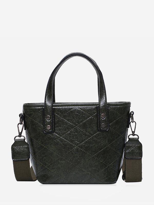 Trendy Rhombic Line Big Leather Tote Bag