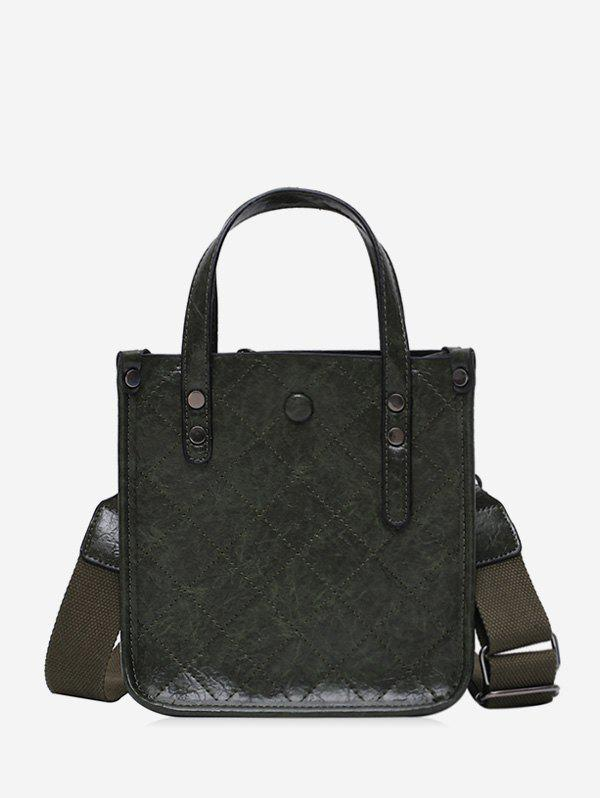 Best Rhombic Line Leather Solid Tote Bag