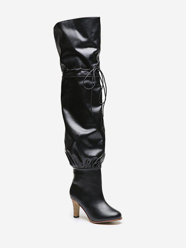 Shops High Heel Tie Up Leather Thigh High Boots