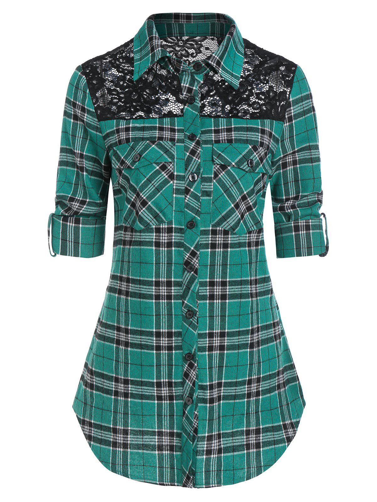 Fashion Plaid Print Double Pockets Lace Insert Shirt