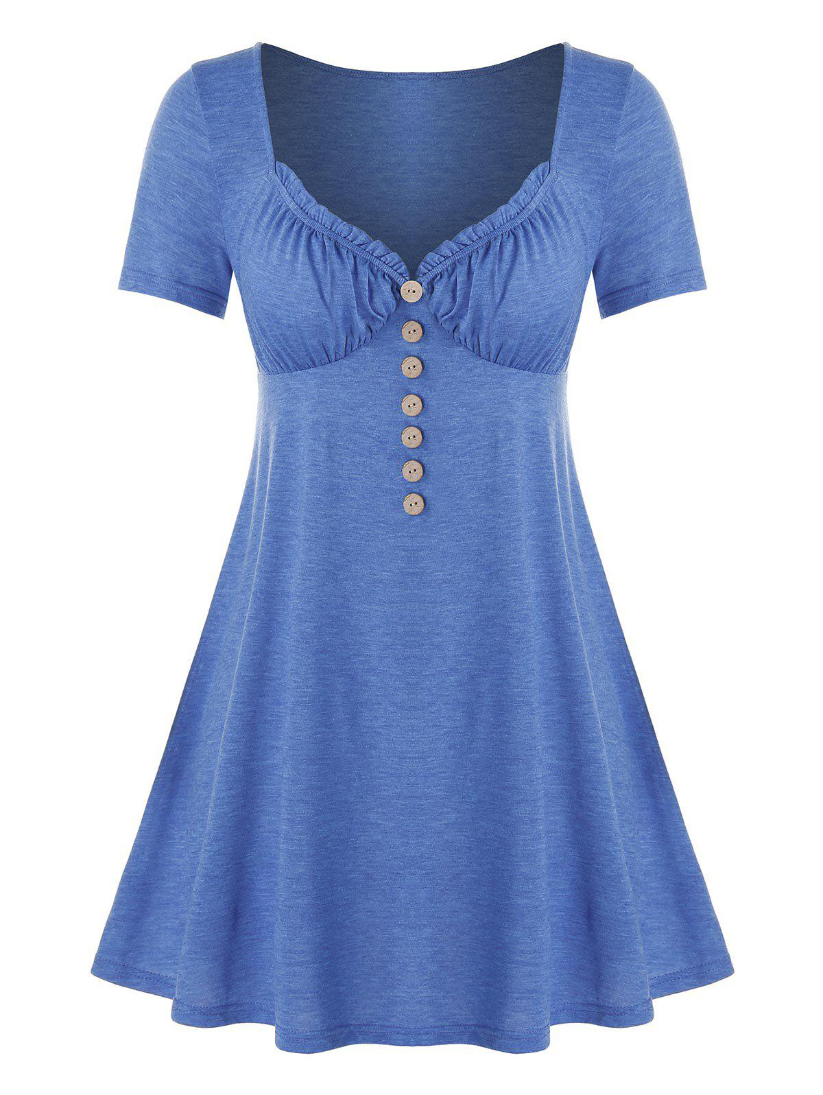 New Plus Size Mock Button Frilled Sweetheart Neck Tunic Tee