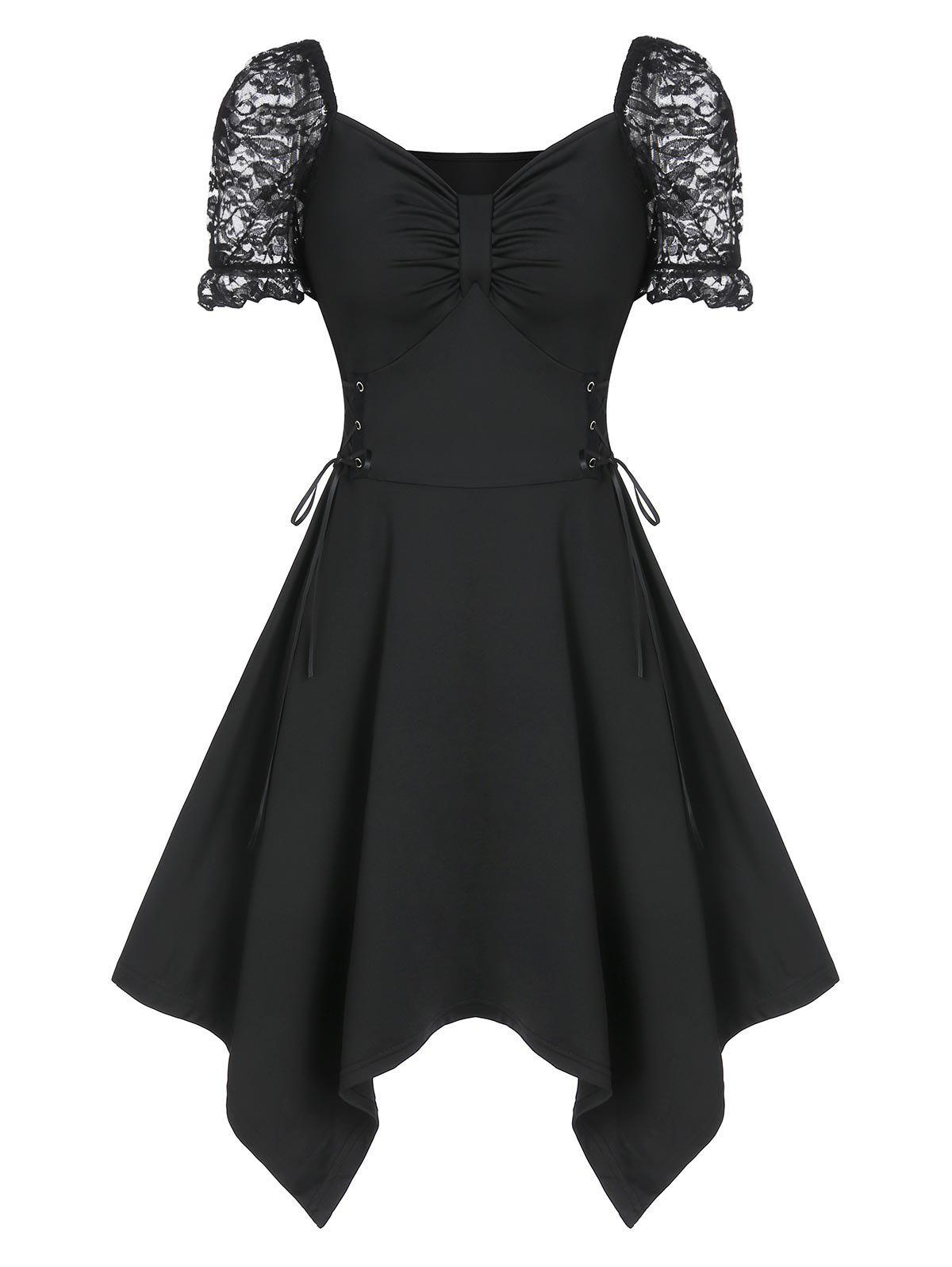 Shops Sweetheart Neck Ruched Lace Up Asymmetrical Dress