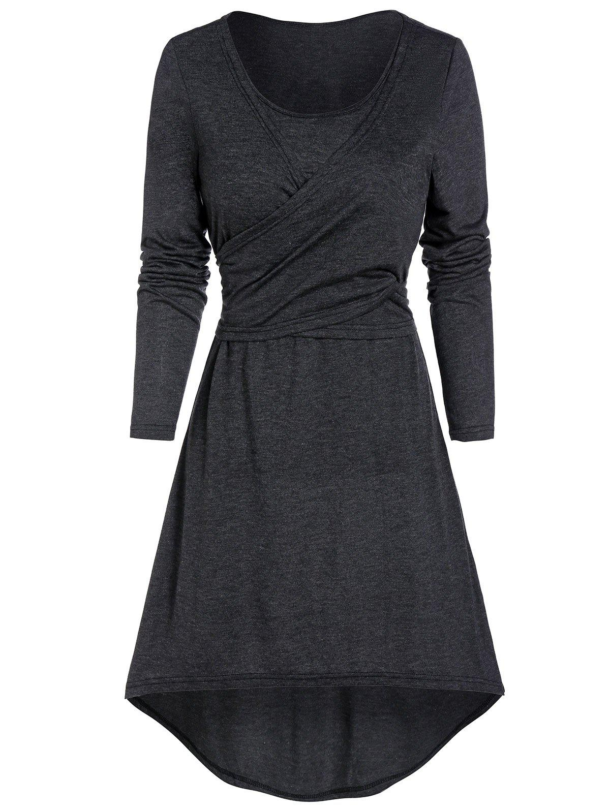 Outfits Heathered Knotted Wrap High Low Dress