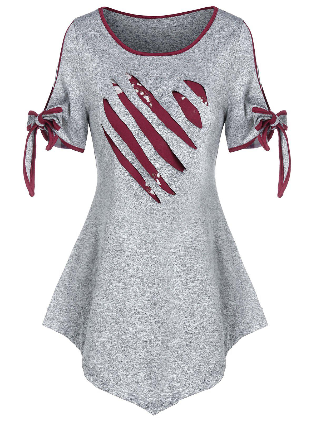 Valentine Heart Pattern Ripped Bowknot Marled T-shirt фото