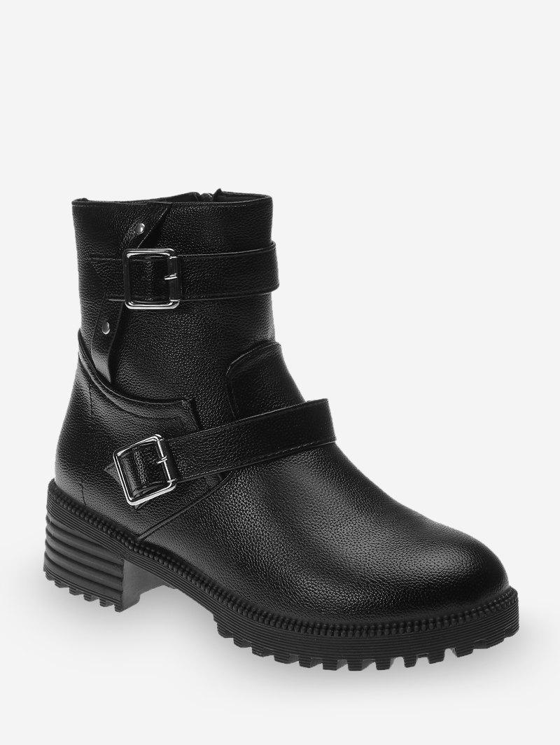 Store Dual Buckle Chunky Heel Leather Ankle Boots