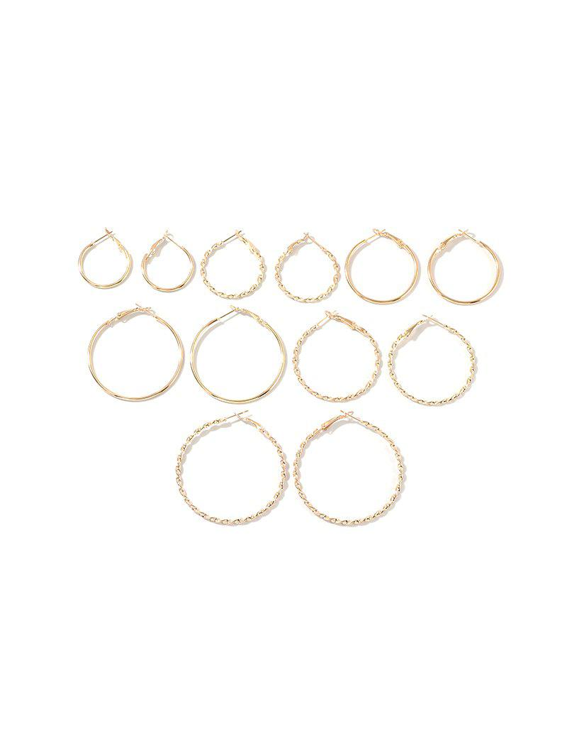 Latest 6 Piece Simple Hoop Earrings Set