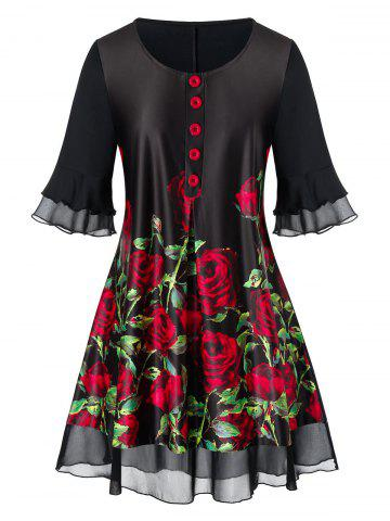 Plus Size Flare Sleeve Rose Print Blouse - BLACK - L