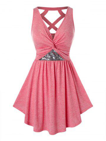Plus Size Sequined Twist Cut Out Tunic Tank Top - WATERMELON PINK - 1X