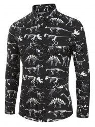 Dinosaur Skeleton Print Button Up Long Sleeve Shirt -