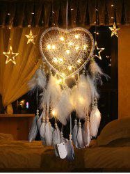 Lace Insert Feather LED Light Heart Dream Catcher -
