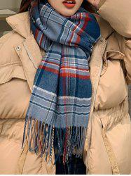 Plaid Pattern Fringed Faux Cashmere Long Scarf -