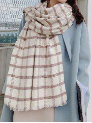 Winter Checkered Pattern Fringed Long Scarf -