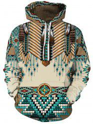 Feather Tribal Print Pouch Pocket Hoodie -