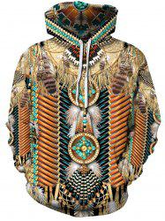 Ethnic Tribal Print Pouch Pocket Hoodie -