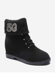 Rhinestone Foldover Increased Internal Ankle Boots -