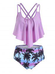 Coconut Tree Flounce Overlay Criss Cross Tankini Swimwear -