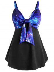 Plus Size Front Knot 3D Galaxy Print Tank Top -