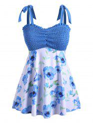 Tie Shoulder Skirted Floral Smocked Plus Size Tankini Swimsuit -
