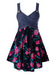 Plus Size Crossover Flower Print Backless Tunic Tank Top -
