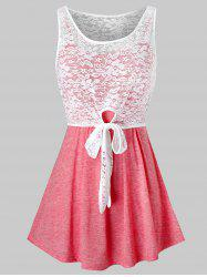 Plus Size Lace Knotted Tank Top and Tunic Cami Top Set -