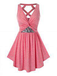 Plus Size Sequined Twist Cut Out Tunic Tank Top -