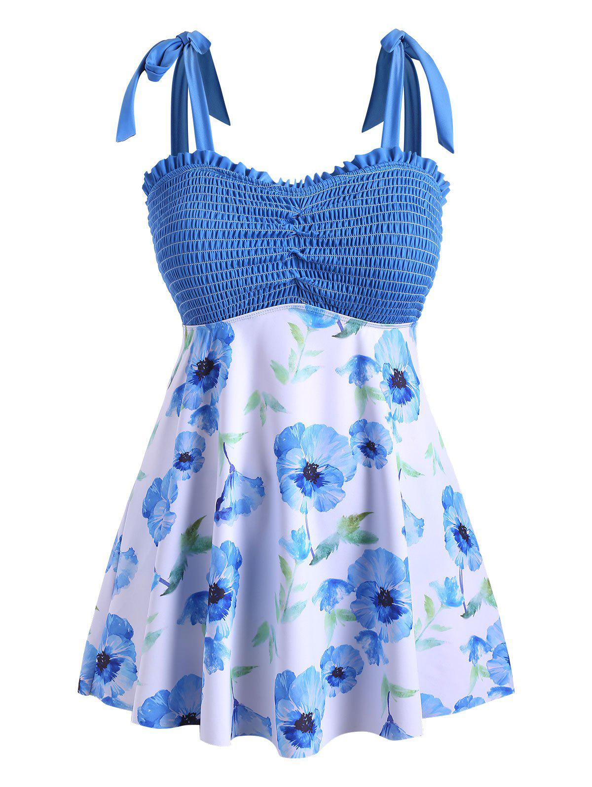 Tie Shoulder Skirted Floral Smocked Plus Size Tankini Swimsuit фото