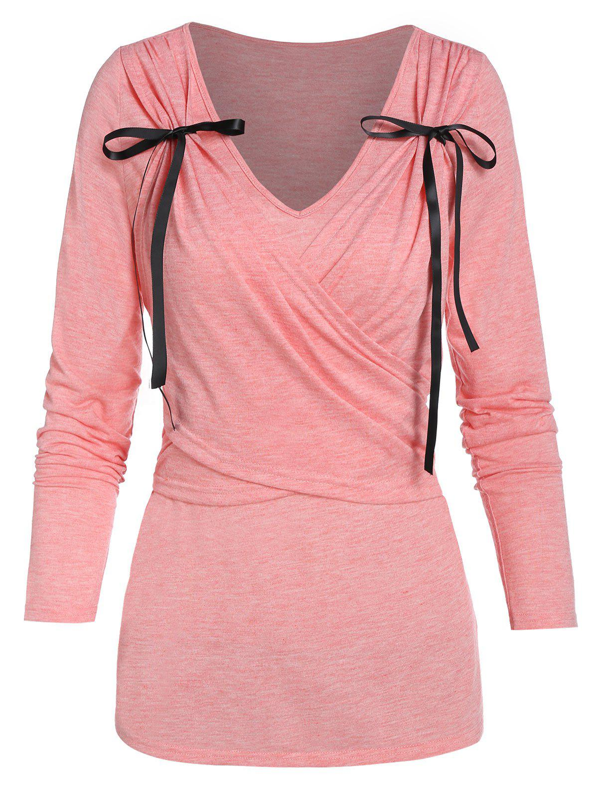 Outfit Bowknot Detail V Neck Crossover T-shirt
