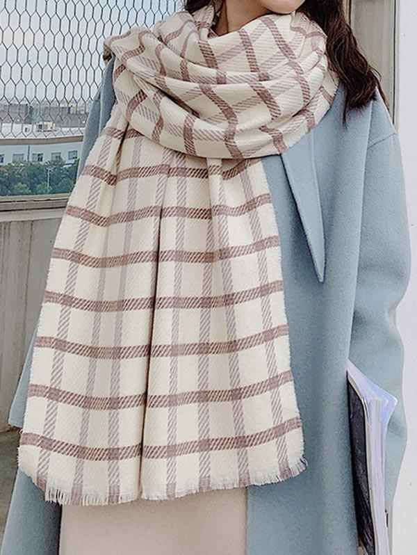Store Winter Checkered Pattern Fringed Long Scarf