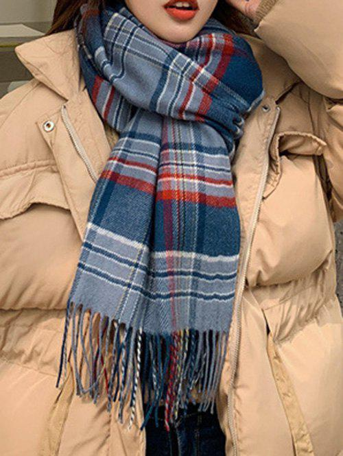 Discount Plaid Pattern Fringed Faux Cashmere Long Scarf