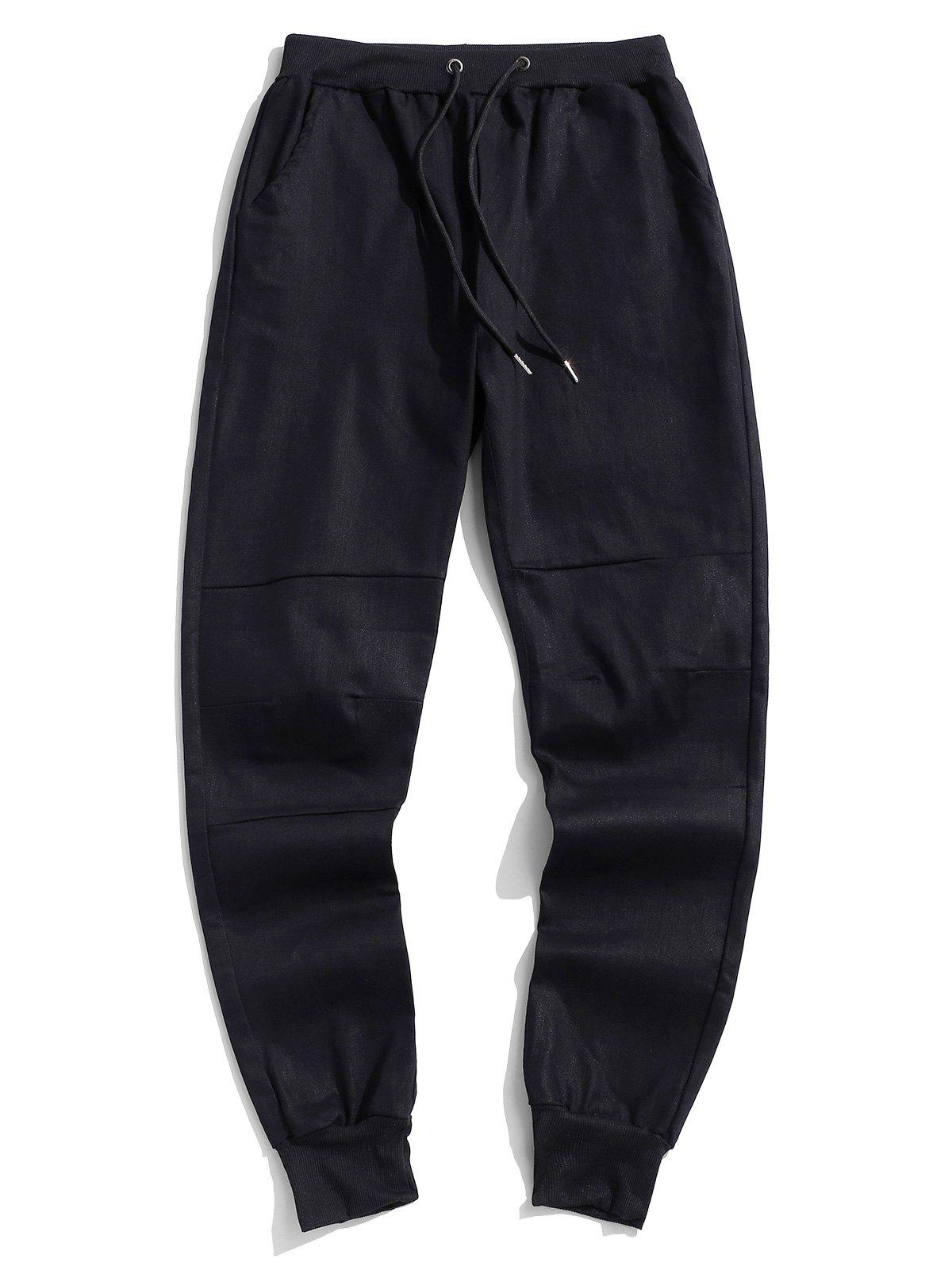 Online Solid Spliced Casual Jogger Pants