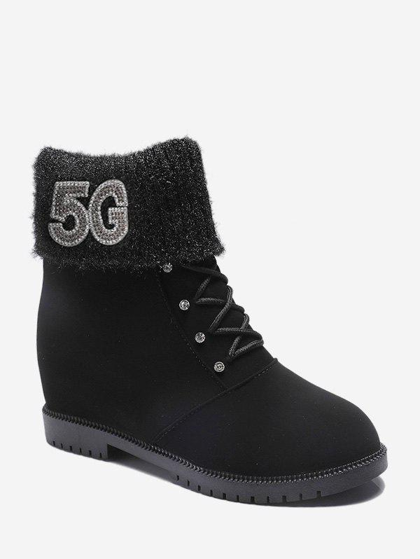 Store Rhinestone Foldover Increased Internal Ankle Boots