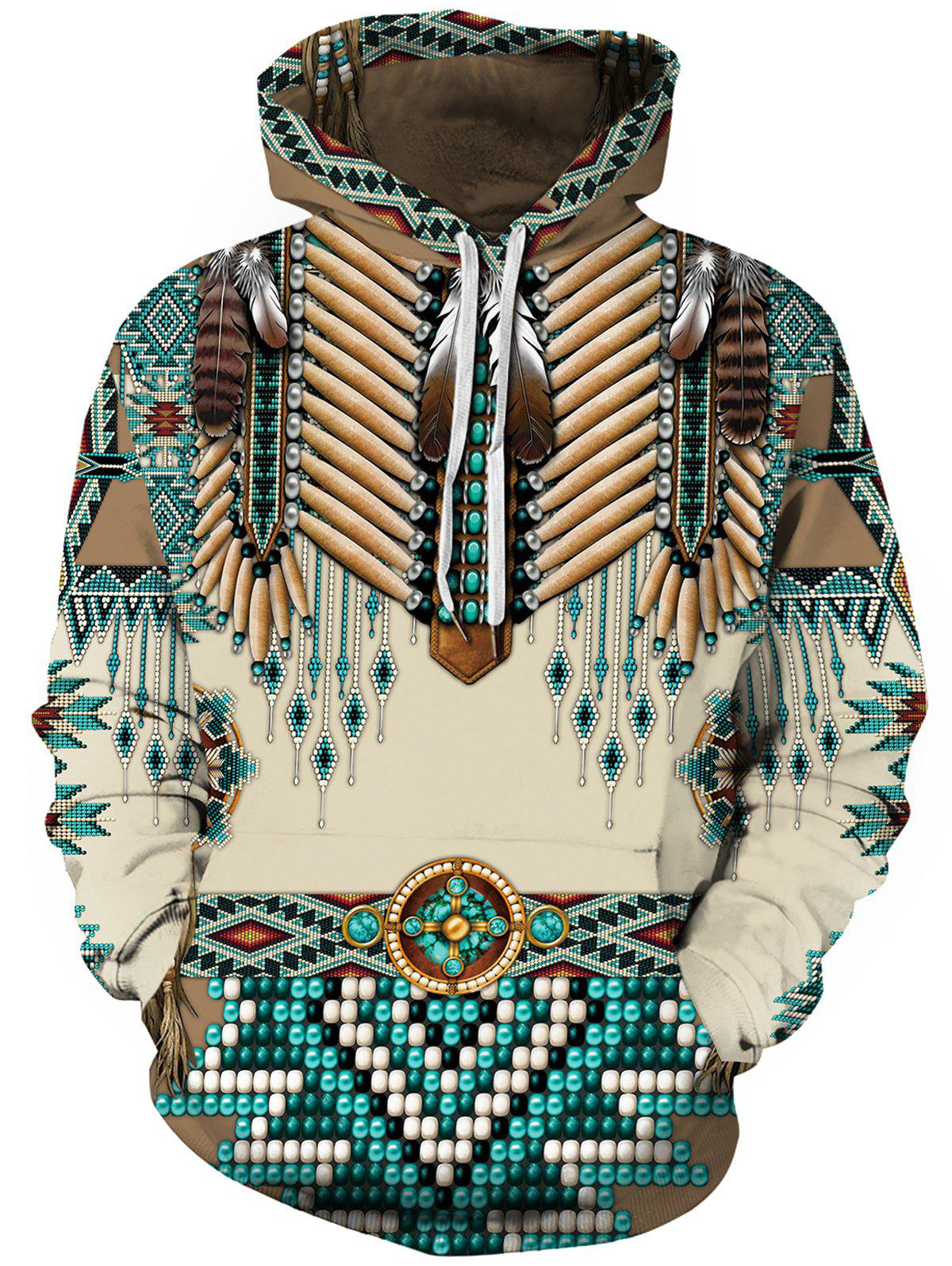 New Feather Tribal Print Pouch Pocket Hoodie