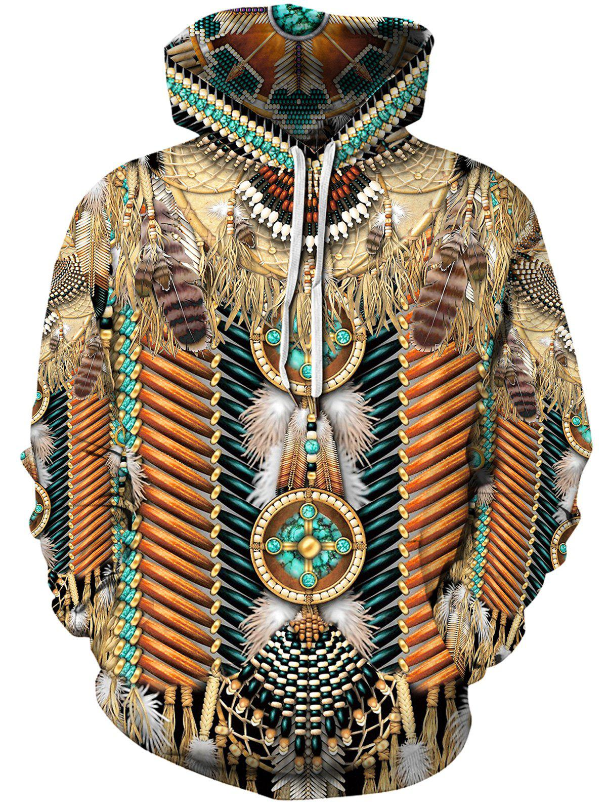 Shop Ethnic Tribal Print Pouch Pocket Hoodie