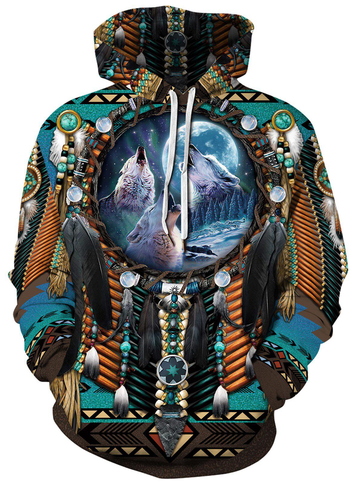 Shop Ethnic Wolf Pattern Pocket Hoodie