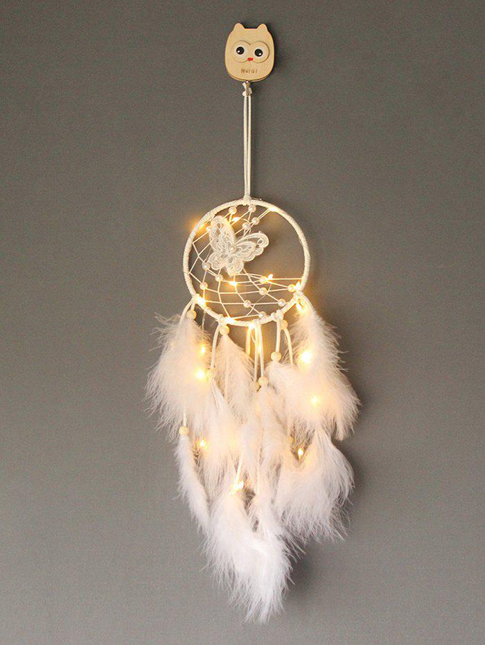 Latest Faux Pearl Beaded Butterfly Feather Dream Catcher