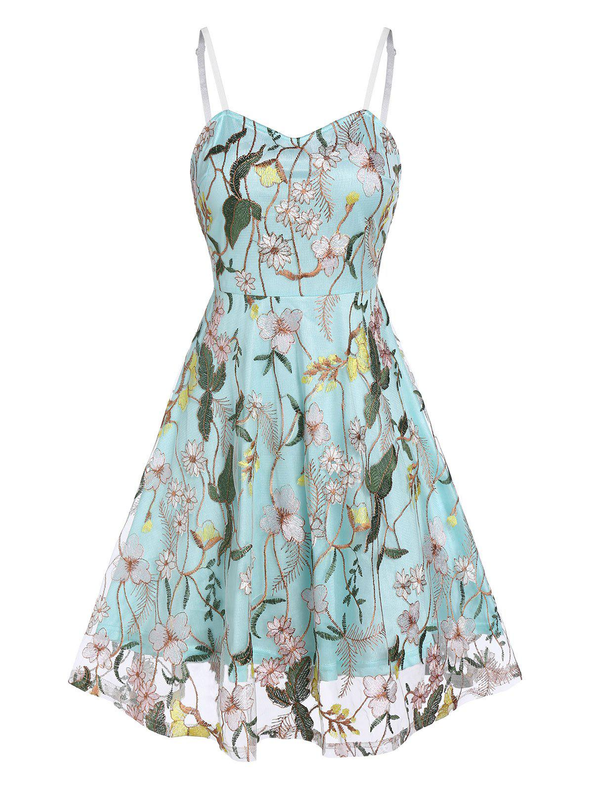 Shop Flower Embroidery Lace Slip Layered Dress
