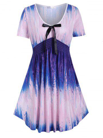 Bowknot Smocked Waist Splatter Painting Plus Size Top - PINK - L