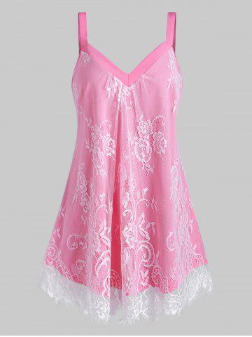 Plus Size Floral Lace Overlay Sweetheart Neck Tank Top - PINK - L