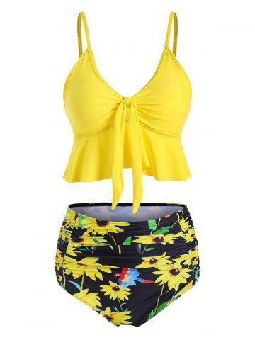 Sunflower Knotted High Waisted Ruched Tankini Swimsuit