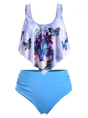 Plus Size Butterfly Print Overlay Tankini Swimsuit - CRYSTAL BLUE - 4X