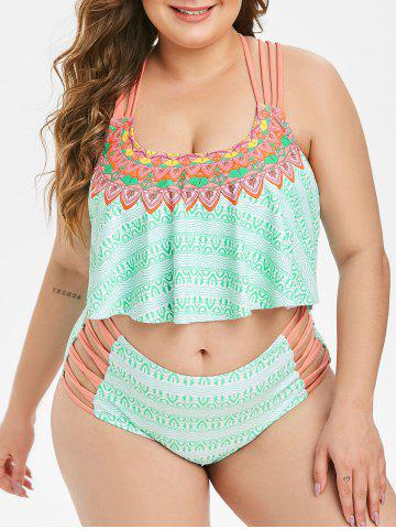Plus Size Geo Print Lattice Flounce Tankini Swimsuit - GREEN - 3X
