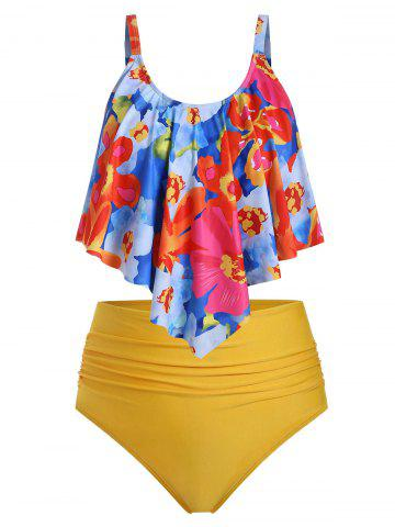 Plus Size Floral Overlay Ruched High Waist Tankini Swimsuit - YELLOW - 1X