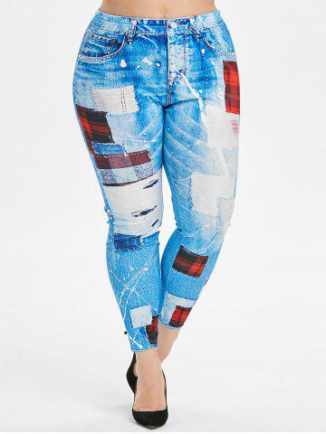High Waisted Pull On 3D Plaid Panel Plus Size Jeggings - DENIM BLUE - 4X