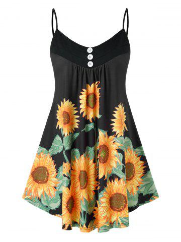 Plus Size Printed Sunflower Button Slip Tank Top - BLACK - 3X