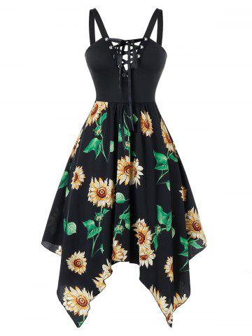 Plus Size Sunflower Print Asymmetrical Lace Up Handkerchief Dress - BLACK - 2X