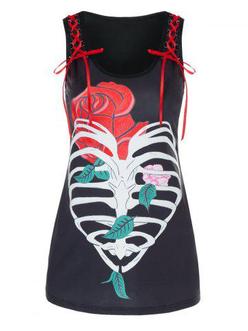 Valentine   Flower   Heart   Print   Tank   Lace   Top   Up