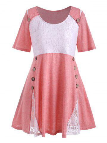 Plus Size Flower Lace Button Embellished T-shirt - PINK - 5X