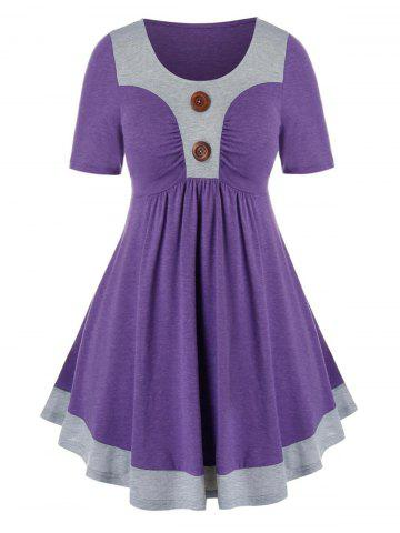 Plus Size Two Tone Ruched Buttoned Tunic Tee - PURPLE AMETHYST - 3X