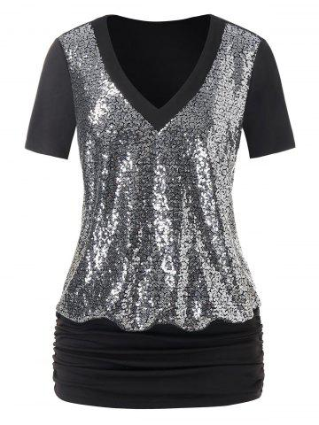 Plus Size Sequined Blouson T Shirt - BLACK - 1X
