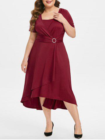 Plus Size Overlap Ring High Waisted Midi A Line Dress - RED WINE - L